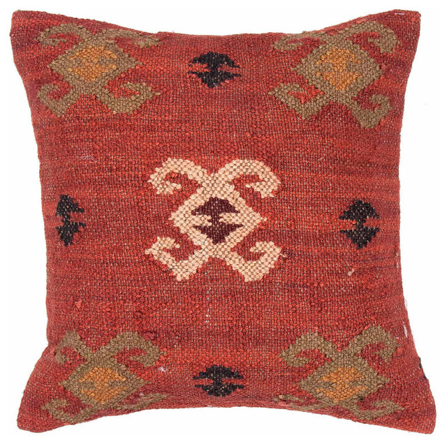 Southwestern Pillows And Rugs : Jaipur Ourain Handmade Wool/ Jute Red/Green Pillow (18