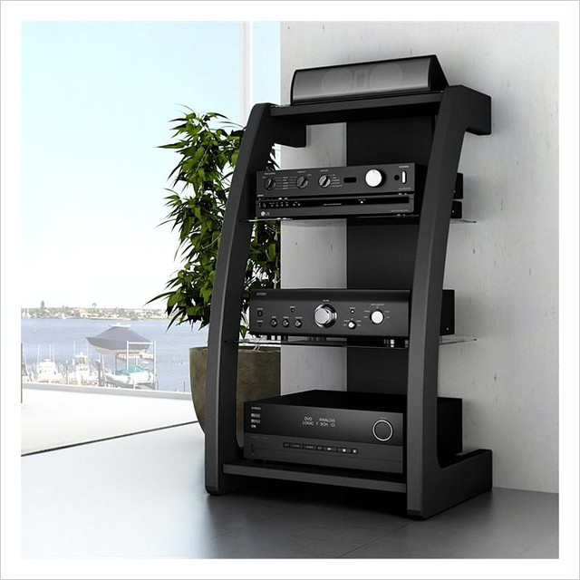 Sonax Furniture: Sonax Milan Black Three Shelf Component Stand