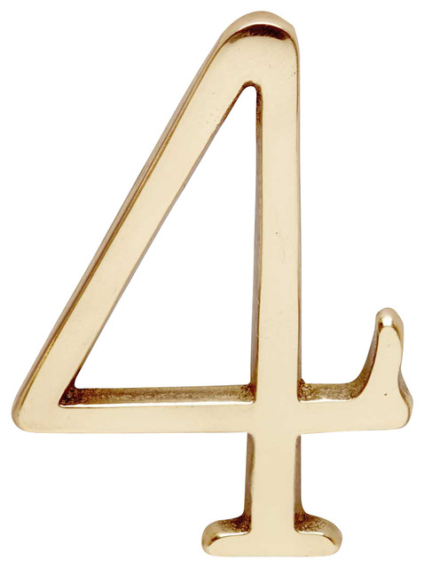 Bright Brass Pin Mount House Number 4 Contemporary