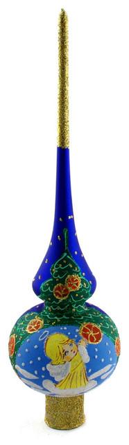 Traditional Glass Christmas Tree Ornaments : Quot little angel blue glass christmas tree topper