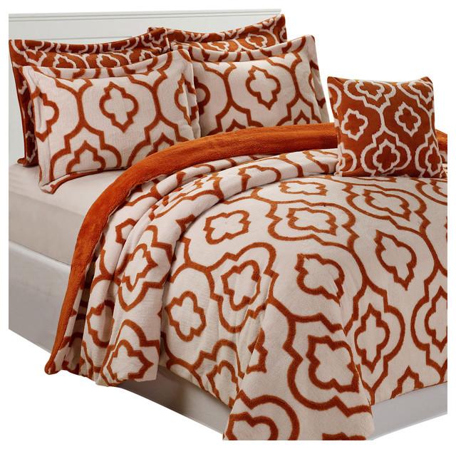 Jacquard Sherpa 6 Piece Bed Spread Set, Burnt Orange ...