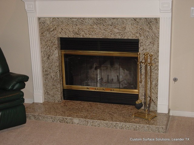Fireplace Granite Tile Traditional Family Room Austin By Custom Sur