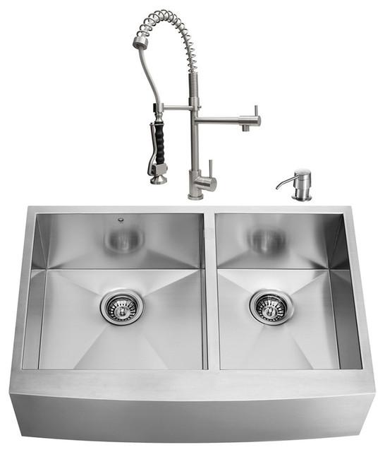 VIGO Farmhouse Kitchen Sink Faucet 2 Grids 2 Strainers And Dispenser Mod