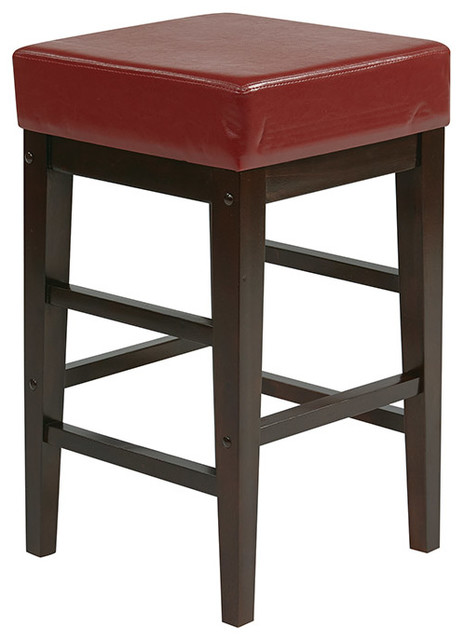 "25"" Square Red Faux Leather Barstool with Espresso Legs - Bar Stools And Counter Stools - by ..."