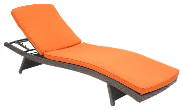Jeco inc wicker adjustable chaise lounger with orange for Chaise longue orange