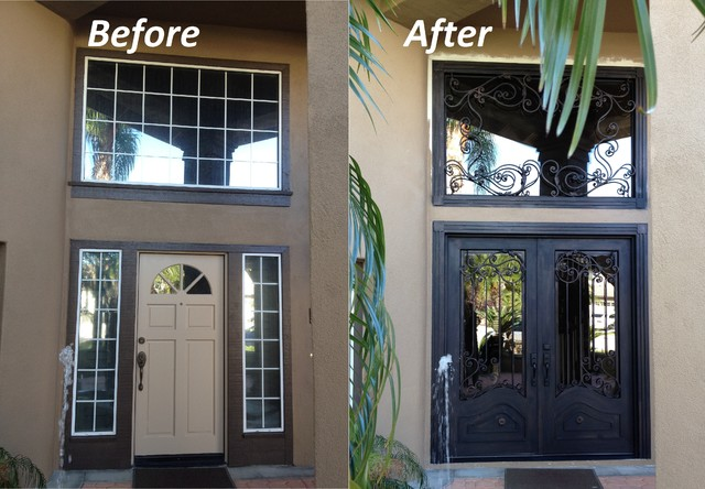 Orange wrought iron fron doors and transom straight top for Front door with transom above