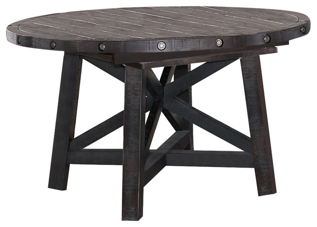 Yosemite Solid Wood Round Extension Table Farmhouse Dining Tables by Mo