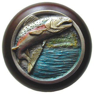 Leaping Trout Wood Knob in Hand-tinted Antique Pewter/Dark Walnut wood finish - Cabinet And ...