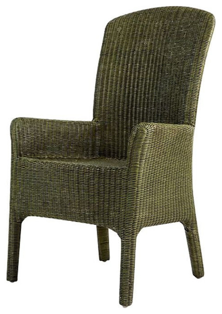 olive green wicker arm desk chair 375 est retail