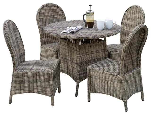 Bernard outdoor wicker 5pieces dining set contemporaneo - Sedie in rattan per esterni ...
