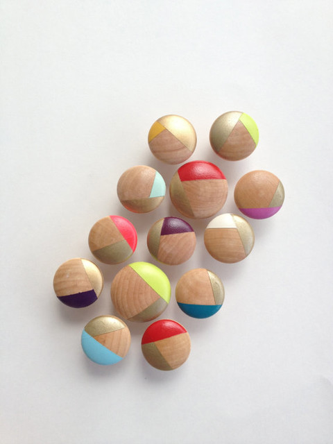 Hand-Painted Wood Hardware Cabinet Knobs by Nesting In Texas - Contemporary - Cabinet And Drawer ...