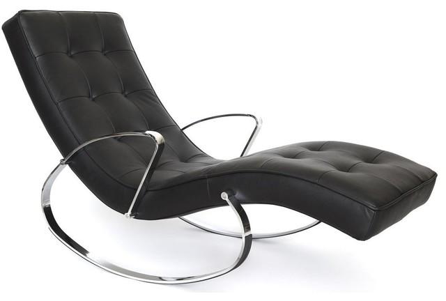 Christiane rocker chaise in black modern rocking chairs - Chaise rocking chair ...