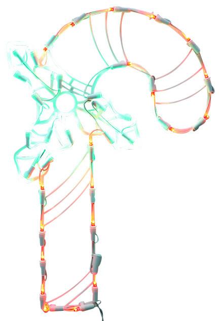 Lighted led candy cane christmas window silhouette for 16 lighted snowflake christmas window silhouette decoration