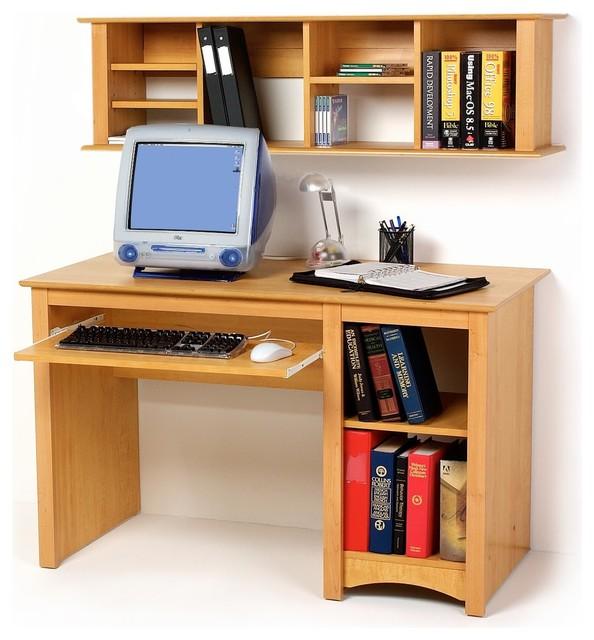 Prepac small wood computer desk in maple modern desks for All wood computer desk