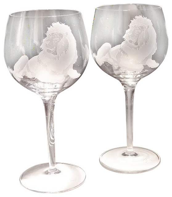 Lion Crystal Wine Glasses Set Of 2 Contemporary Wine