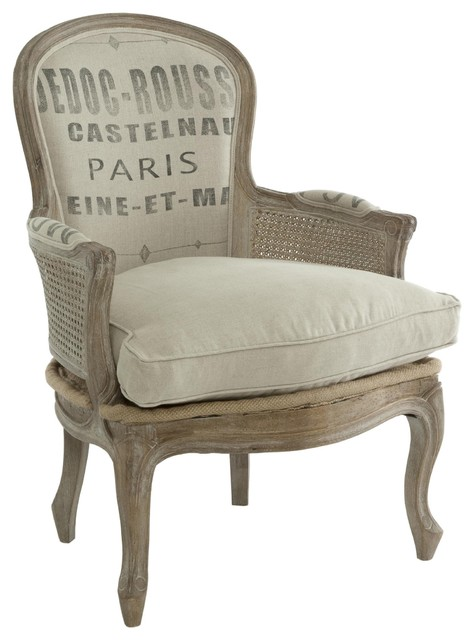 French Country Grain Sack Burlap Occasional Chair