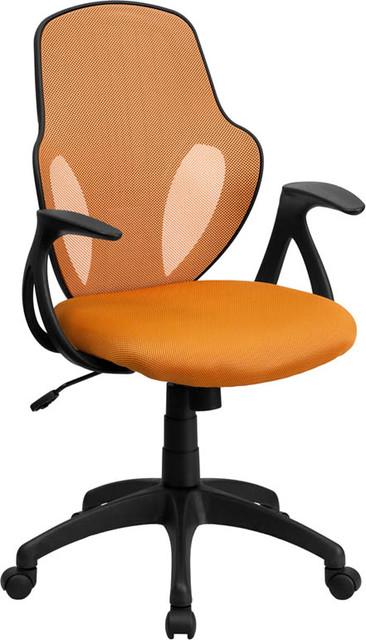 Mid Back Executive Orange Mesh Chair with Nylon Base