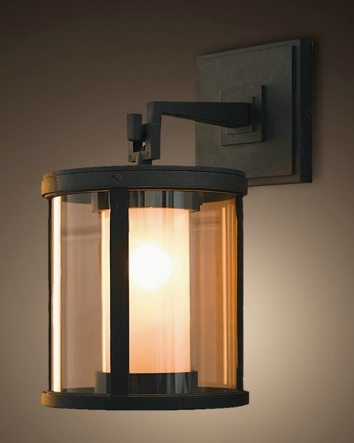 Cylindrical Glass Chimney Black Copper Wall Lighting ...