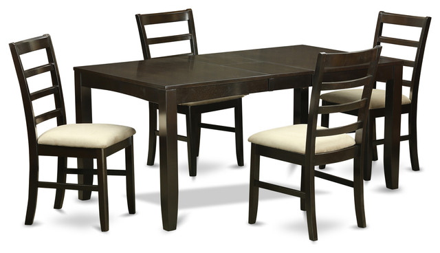 5 Piece Dining Table Set For 4 Table With Leaf And 4
