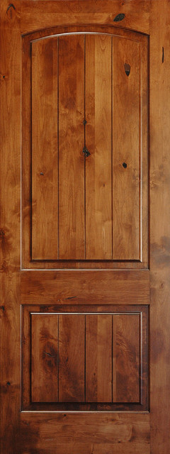 Mediterranean doors solid wood knotty alder arch 2 panel for Knotty alder wood doors