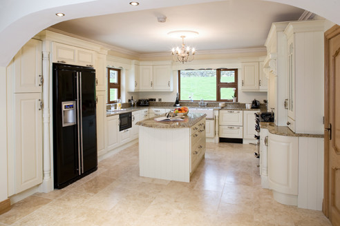 Cream painted traditional kitchen cabinets other for Cream black kitchen designs