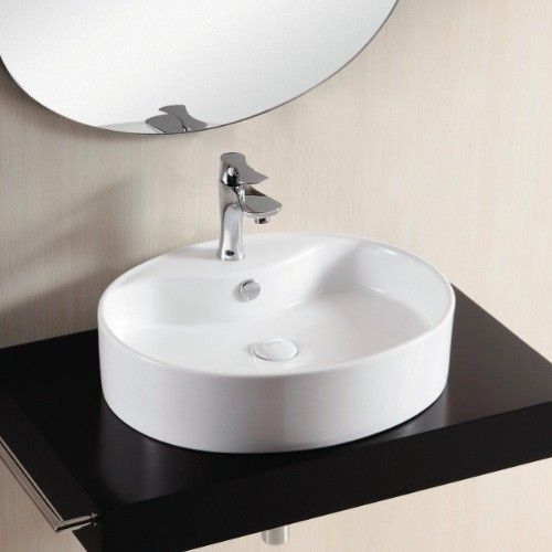 Oval above counter vessel bathroom sink by caracalla contemporary bathroom basins - Designer bathroom sinks basins ...
