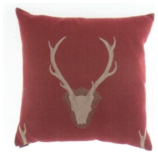 Throw Pillows Deer : Uncle Buck Red Deer Head Throw Pillow - Contemporary - Decorative Pillows - by AMB FURNITURE ...