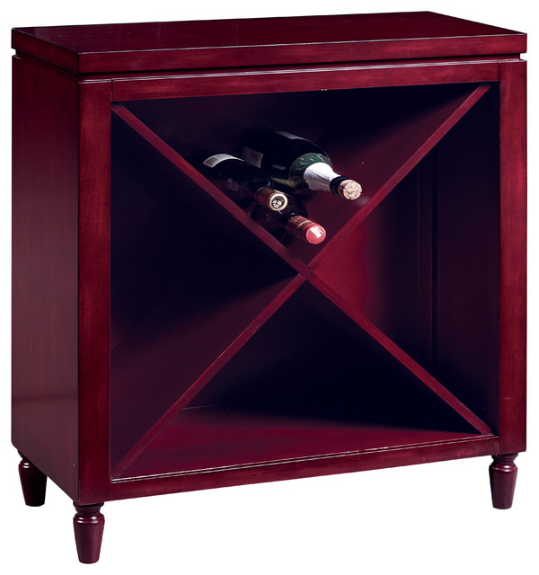 Hand Painted Distressed Red Finish Wine Accent Chest - Contemporary - Accent Chests And Cabinets ...