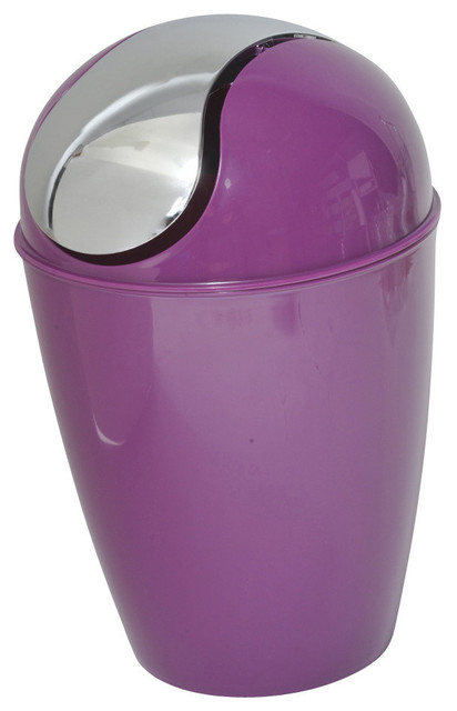 bathroom trash can with chrome lid dark purple contemporary