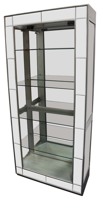 Silver Mirrored Curio With 4 Glass Shelves - Contemporary ...