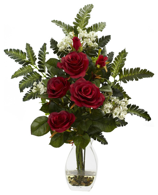 Rose And Chryistam Arrangement Traditional Artificial Flower Arrangements By Bathroom