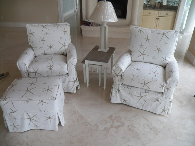 SLIP COVER CHAIRS WITH STARFISH FABRIC