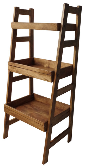 wooden ladder unit rustic bookcases south east by vincent and barn