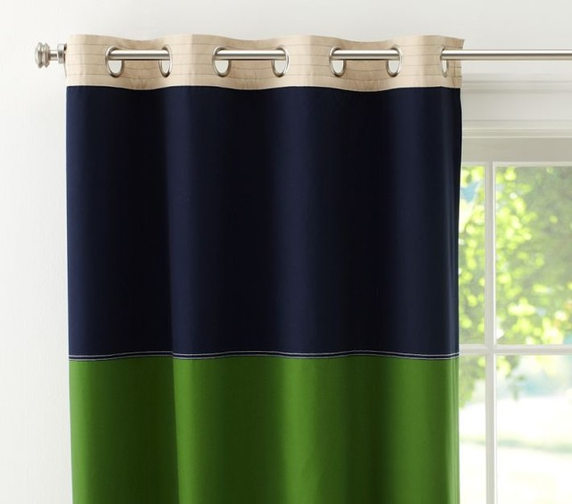 Rugby Blackout Panel, Navy/Green - Contemporary - by Pottery Barn Kids