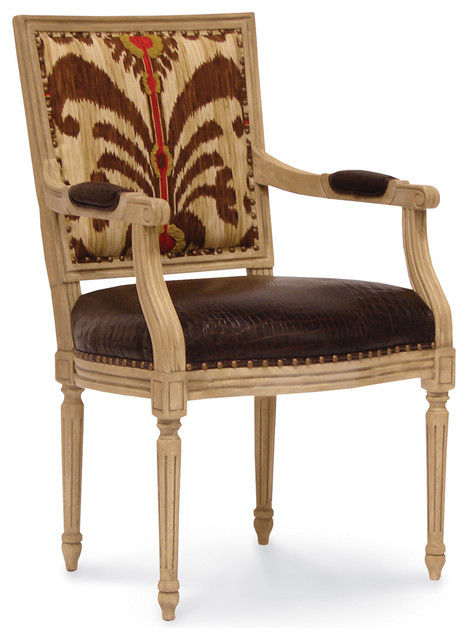 Palecek Lyon Tribal Brown Square Back Arm Chair Modern