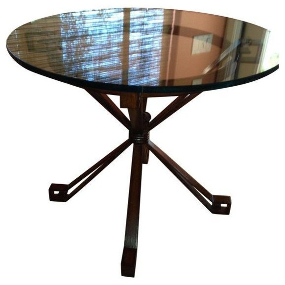 Palecek Denver Metal Table Base With Glass Top Contemporary Dining Tables