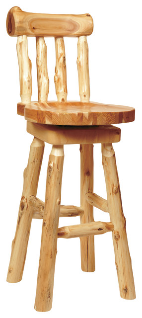 Cedar Log Counter Stool With Backrest 24 Quot Seat Height
