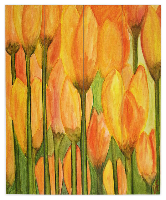 Dianoche Wood Plank Wall Art By Dora Ficher Tulips Contemporary Wall