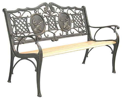 Innova Hearth and Home C385, 85 Deer Bench C.I., Oak - Victorian - Outdoor Benches - by ...