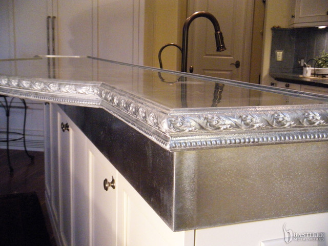 Cast pewter countertop on zinc riser princeton for Zinc kitchen countertop