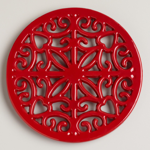 Red Cast Iron Trivet - Contemporary - Trivets - by Cost Plus World ...