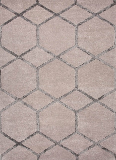 Hand-Tufted Geometric Pattern Wool/ Art Silk Taupe/Gray Area Rug - Modern - Rugs - by Aster Lane