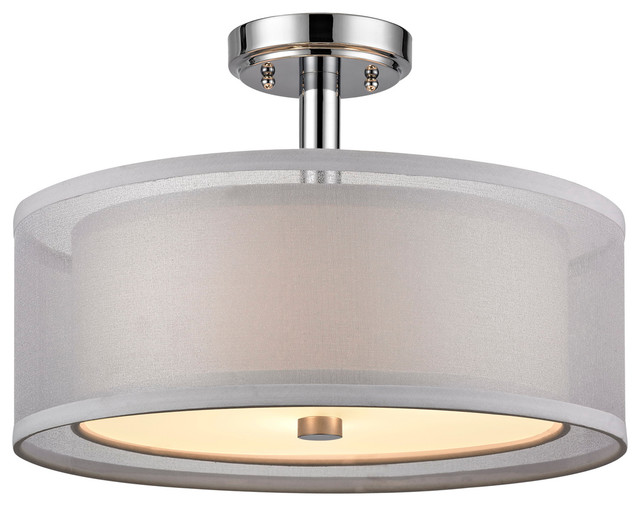 Double organza 3 light semi flush mount chrome modern for Semi flush mount lighting modern