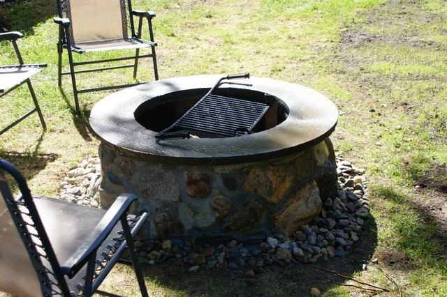 Traditional fire Pit with custom bluestone cap