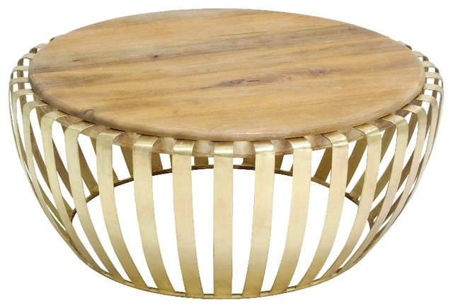 Short Drum Accent Table Round Wood Brass Cage Decor 28602 Contemporary Coffee And Accent