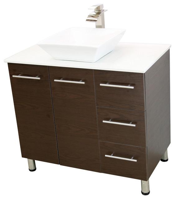Windbay 36 Free Standing Bathroom Vanities Sink Brown Contemporary
