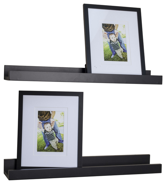 Set of 2 Black Ledges and 2 Photo Frames - Modern - Display And Wall Shelves - by Danya B