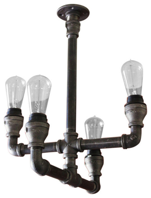 Steampunk pipe industrial light no mason jars galvanized for Pipe ceiling lighting