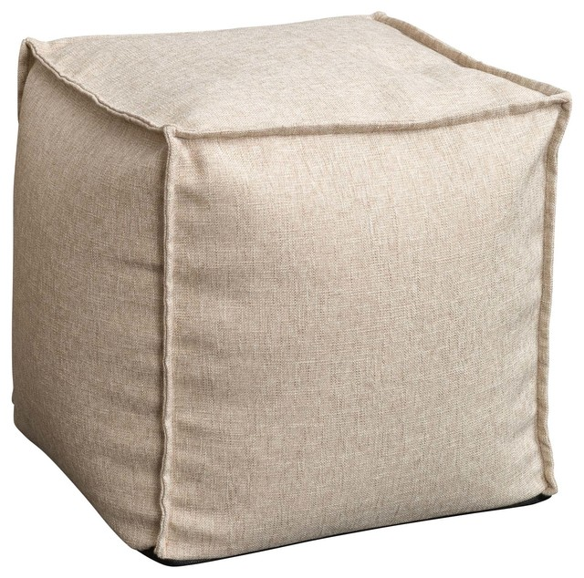 Luther Fabric Cube Pouf, Beige - Modern - Floor Pillows And Poufs - by Great Deal Furniture