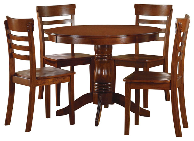 homelegance wayland 5 piece round dining room set in